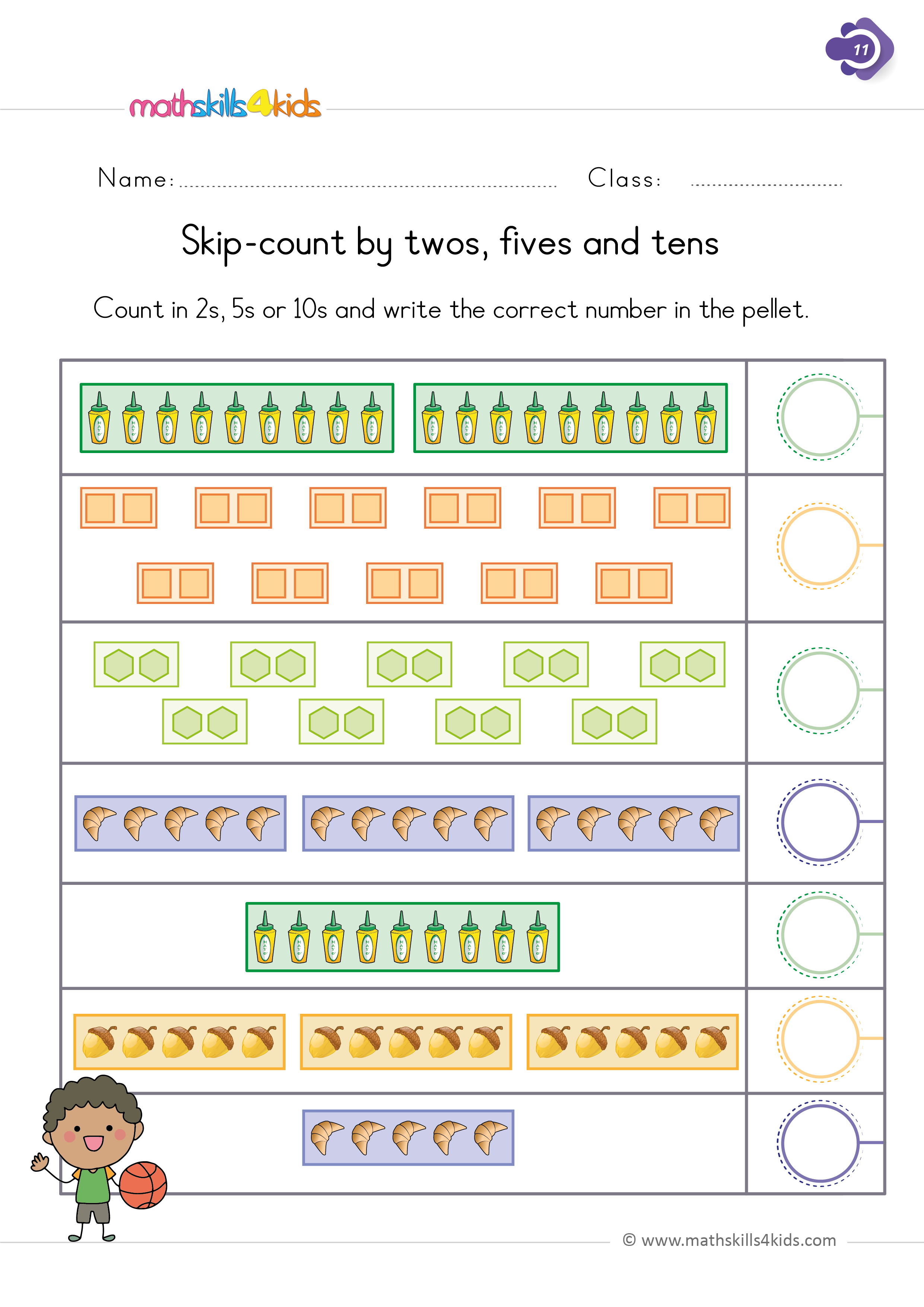 First Grade math worksheets - skip-counting by 2s 5s 10s