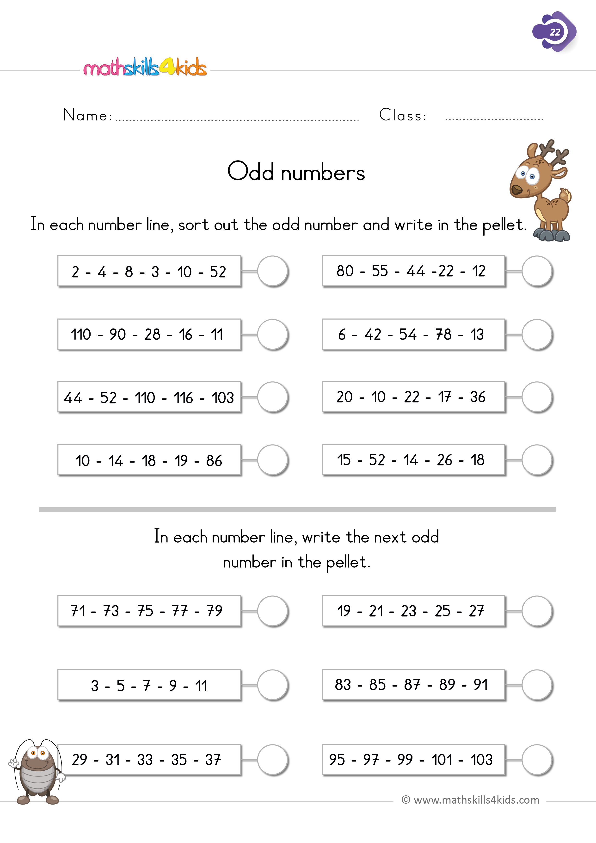 First Grade math worksheets - even and odd numbers - complete the missing numbers