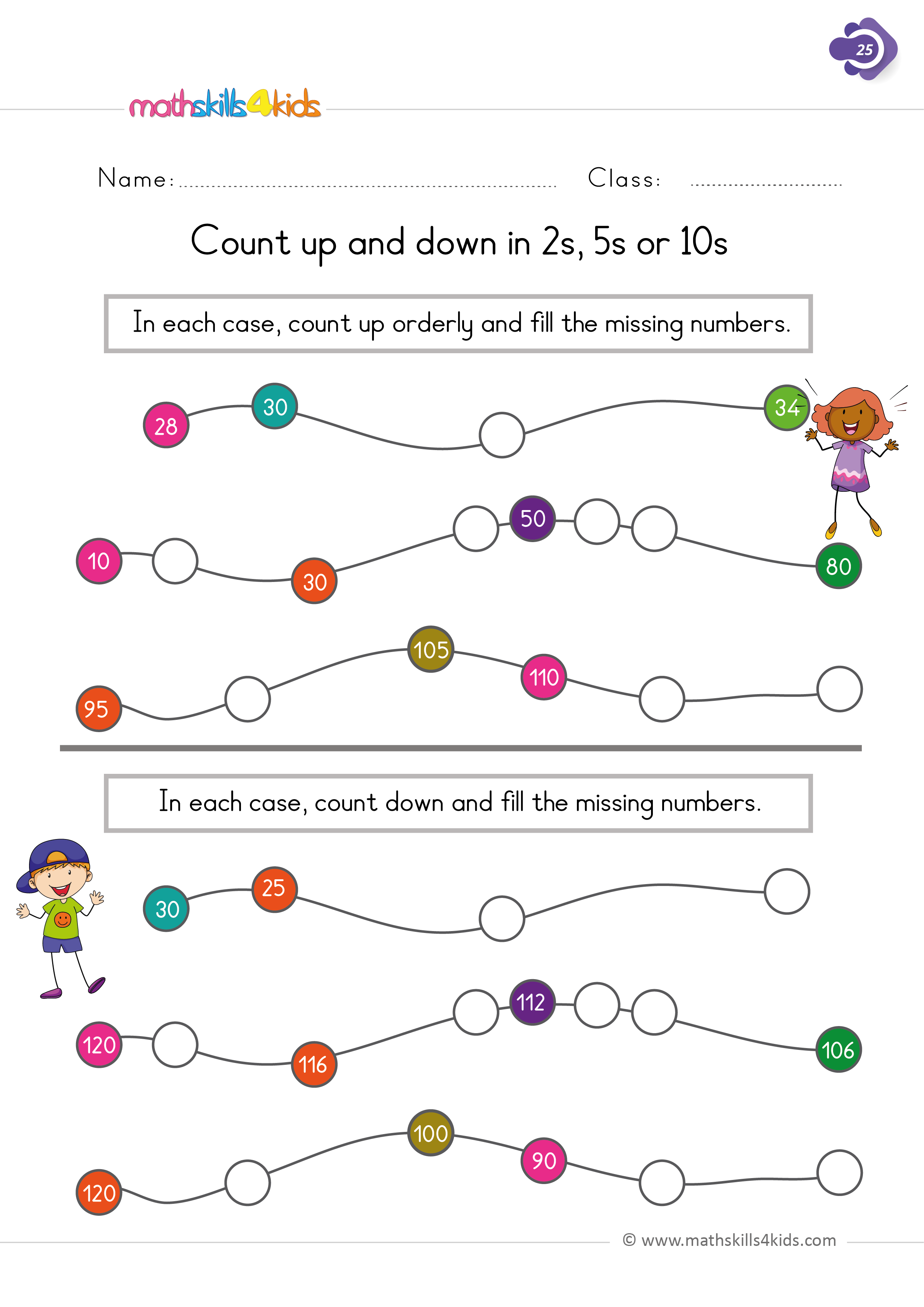 First Grade math worksheets - count up and down