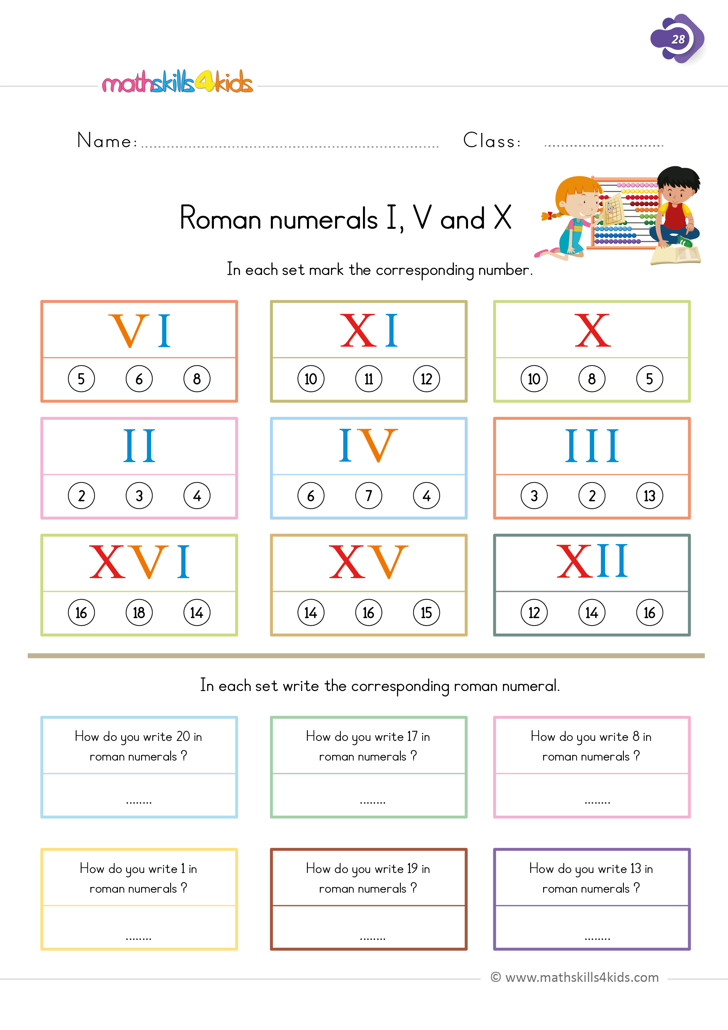 First Grade math worksheets - roman numeral numbers