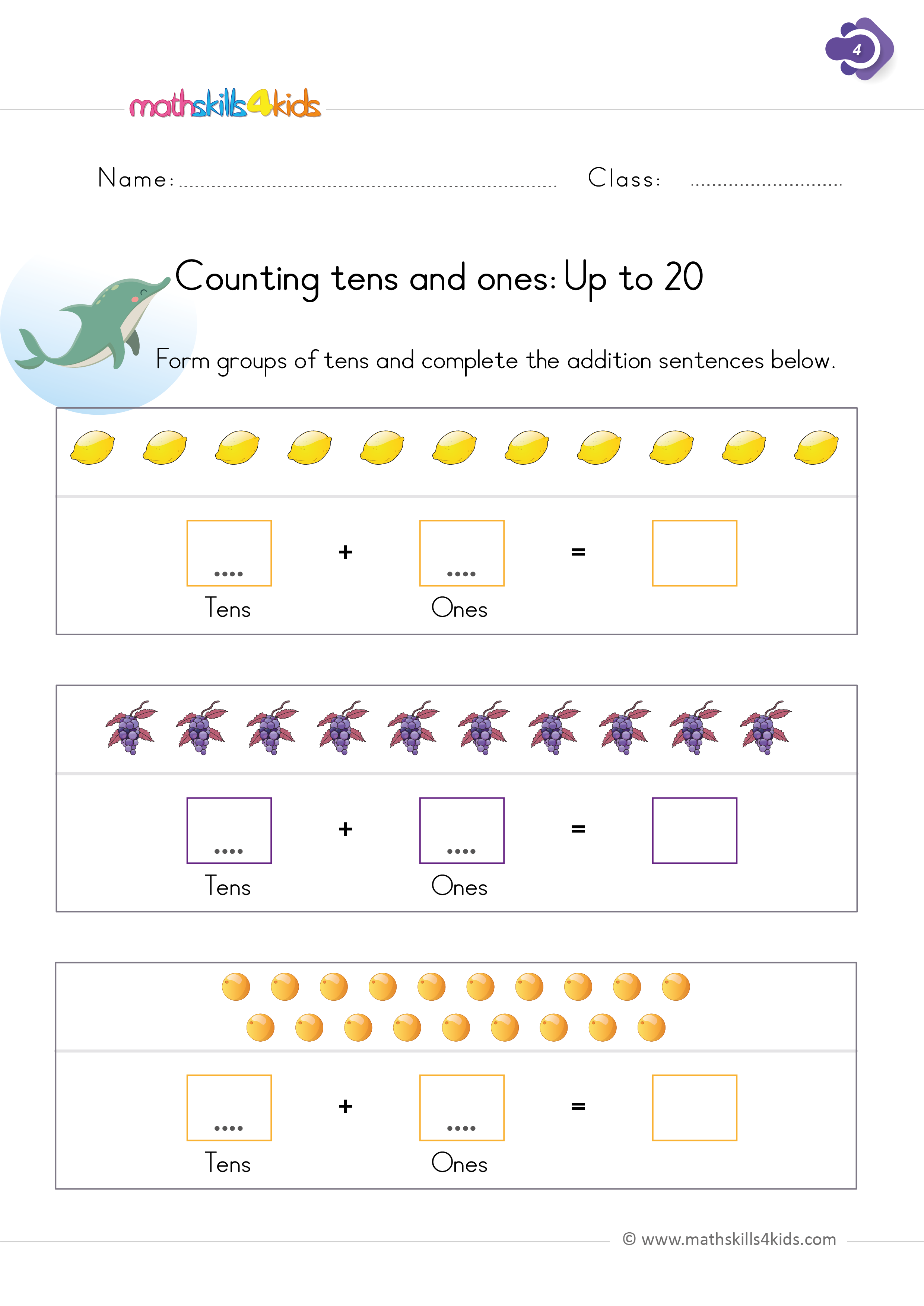 First Grade math worksheets - Counting tens and ones