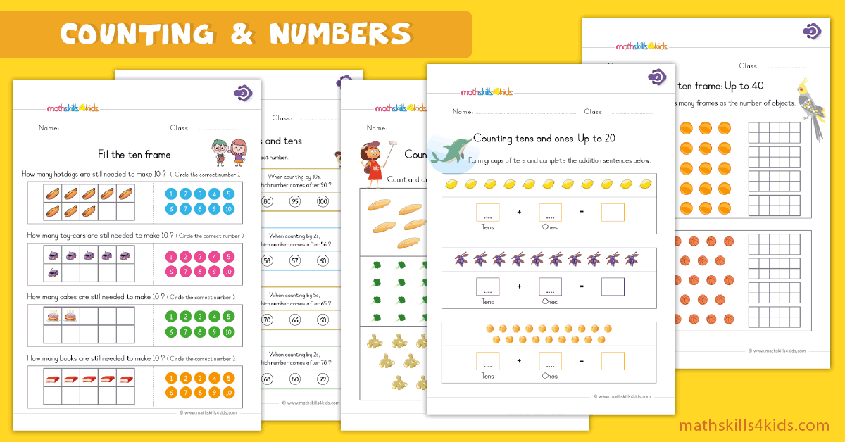 First Grade math worksheets - counting and numbers worksheets