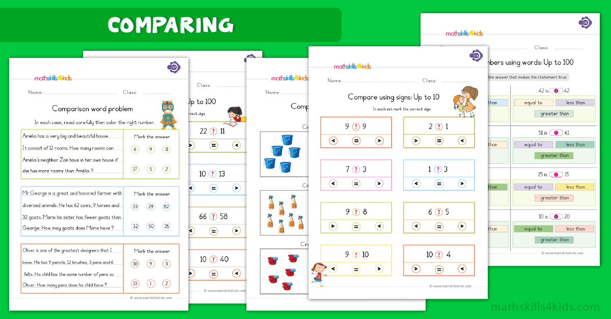 First Grade math worksheets - comparing worksheets