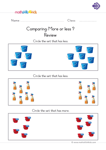 First Grade math worksheets - use comparing words Less or More worksheets