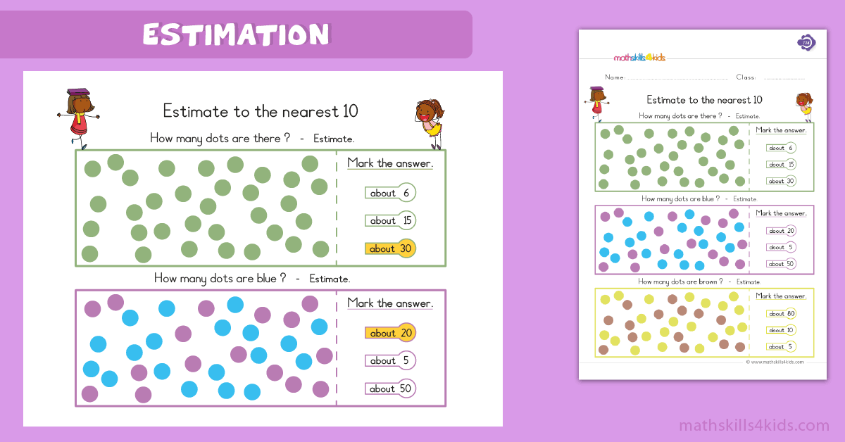 First Grade math worksheets - estimation worksheets