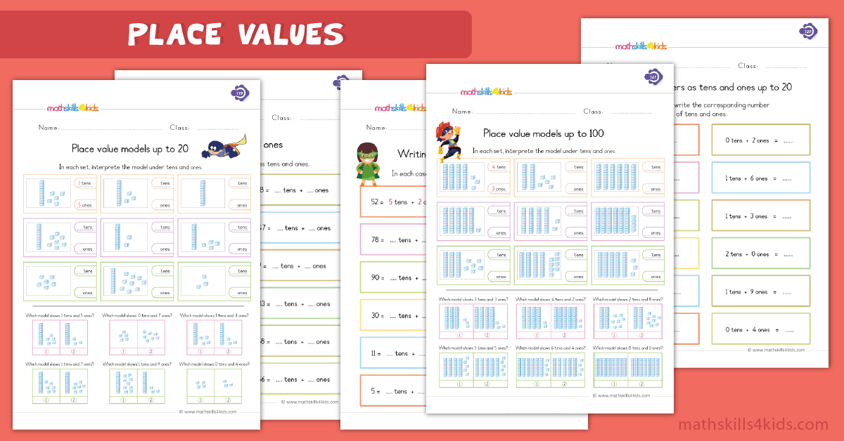 First Grade math worksheets - place value worksheets