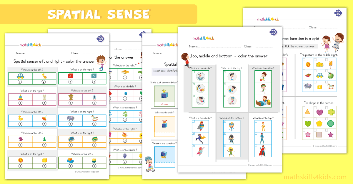 First Grade math worksheets - spatial sense worksheets