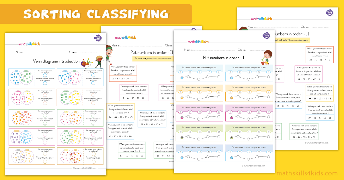 First Grade math worksheets - sorting ordering and classifying worksheets