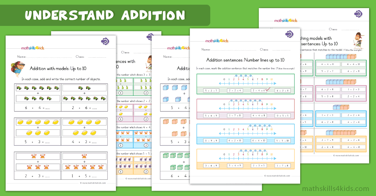 First Grade math worksheets - understand addition worksheets