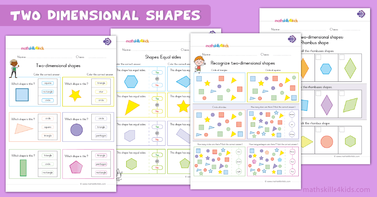 First Grade math worksheets - two dimensional shapes worksheets
