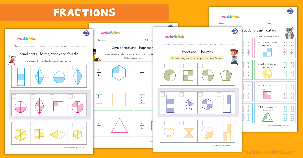 First Grade math worksheets - printable fraction pdf worksheets