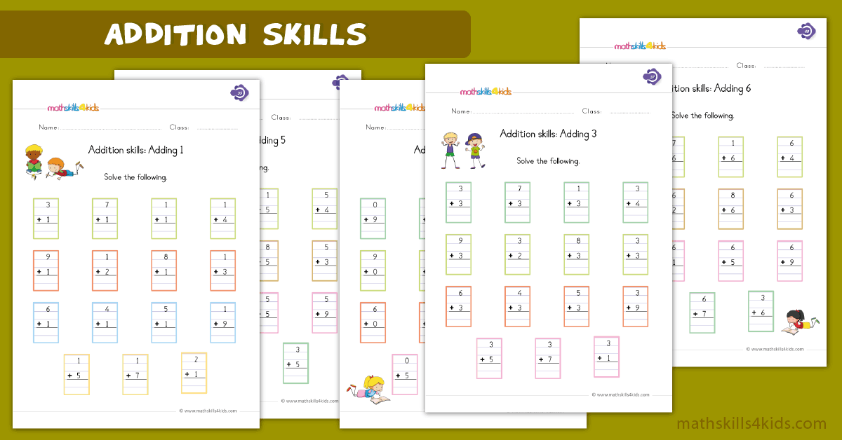 First Grade math worksheets - addition skills worksheets
