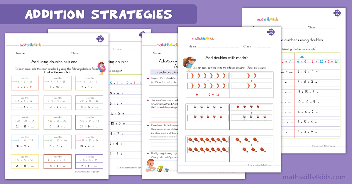 Addition Fact Strategies Worksheets for Grade 1 - 1st Grade Basic Addition Worksheets