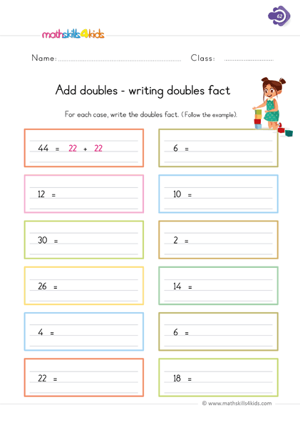 First Grade math worksheets - adding double - complete de missing number