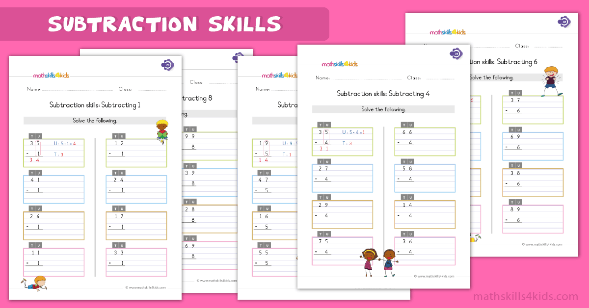 First Grade math worksheets - subtraction skills worksheets