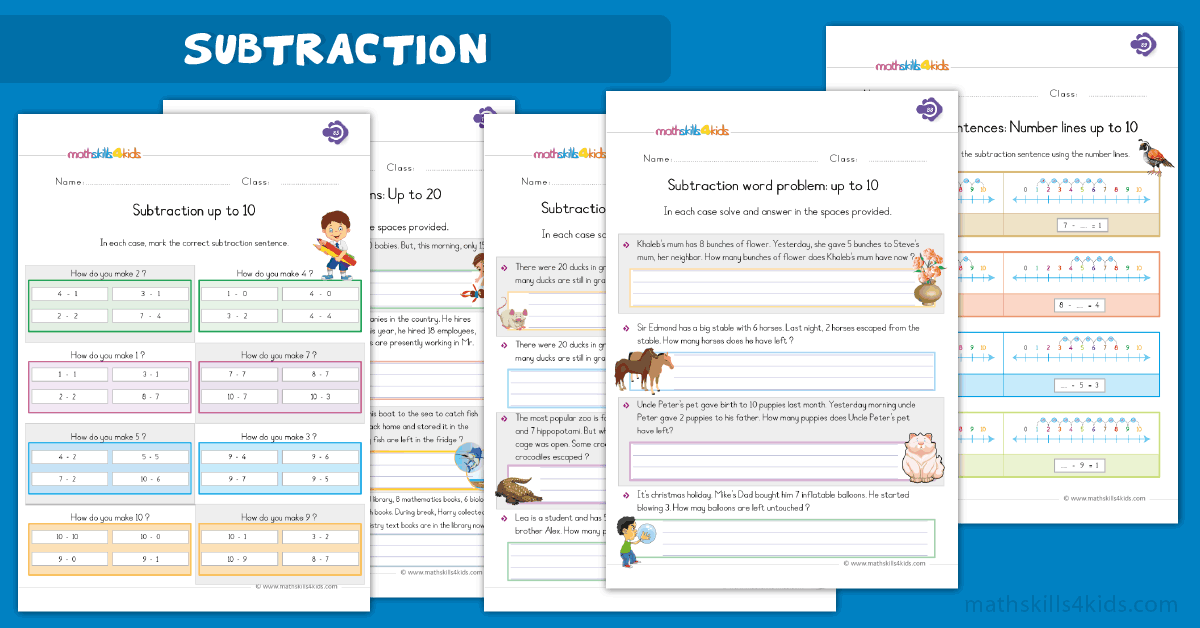 First Grade math worksheets - subtraction worksheets
