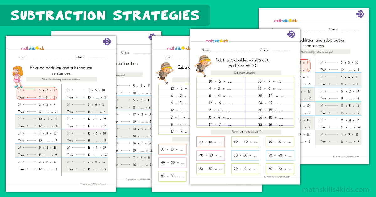 First Grade math worksheets - subtraction strategies worksheets