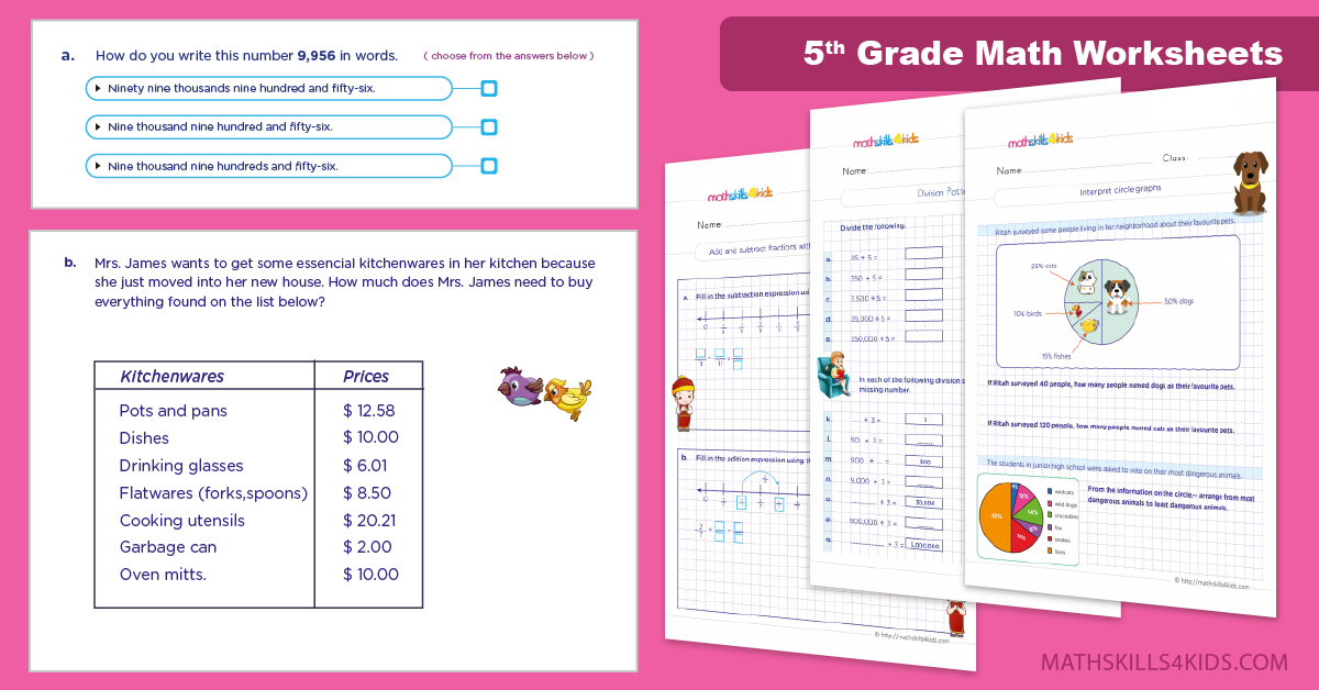 fifth Grade Math Worksheets with Answers PDF - Free Printable Maths Worksheets for Grade 5