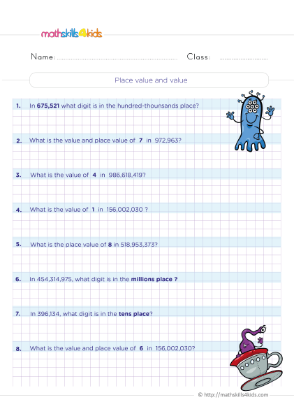 5th Grade Math worksheets with answers - Find the place value of a digit in a whole number