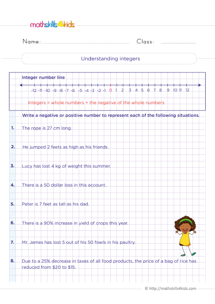 5th Grade Math worksheets with answers - Understanding integers - What is concept of integers? Illustration of situation with integers