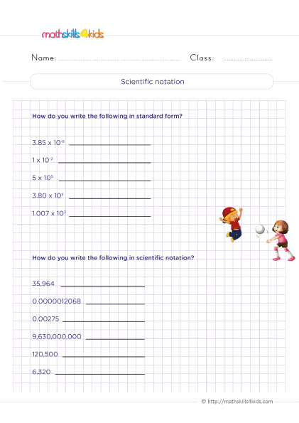 5th Grade Math worksheets with answers - Standard and scientific notation - How do you write a number in scientific notation?