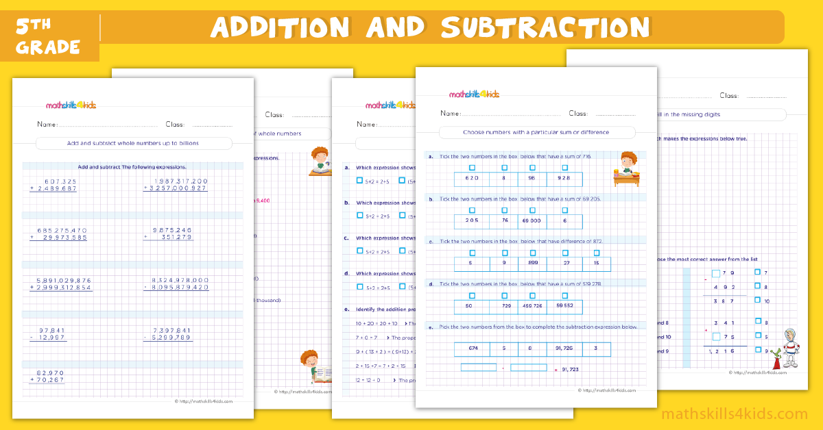 fifth grade math worksheets - addition and subtraction worksheets for grade 5
