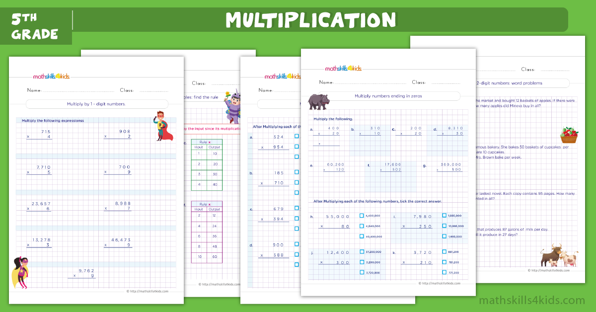 Multiplication worksheets for grade 5 with answers - free printable multiplication worksheets for 5th grade