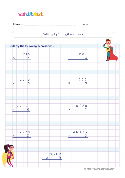 5th Grade Math worksheets with answers - How do you multiply by 1-digit numbers by 1-digit numbers?