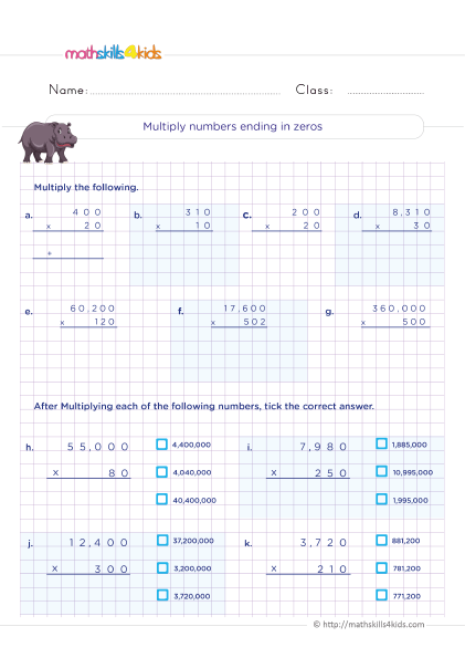 5th Grade Math worksheets with answers - How do you multiply a number ending in 0?