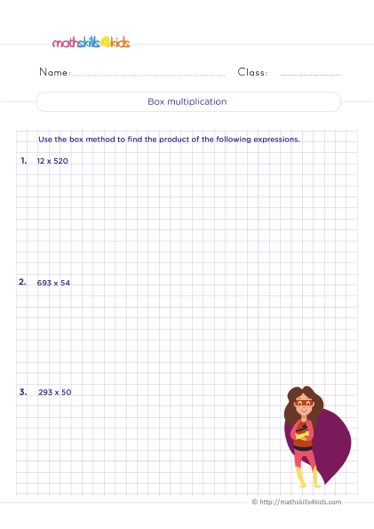5th Grade Math worksheets with answers - How do you do box multiplication? - Understand the box strategy
