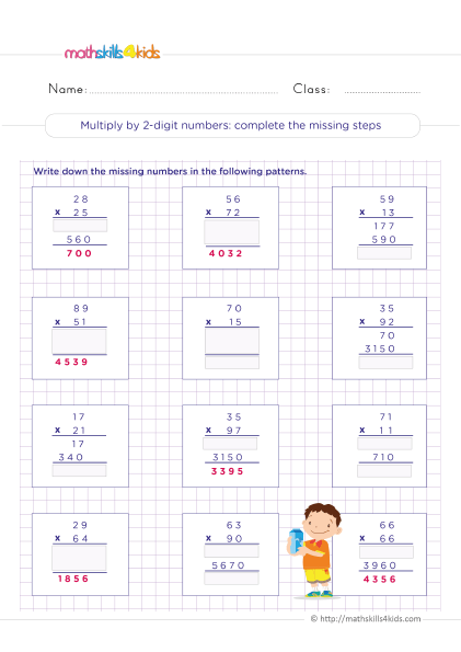5th Grade Math worksheets with answers - 2-digit by 2-digit multiplication - Complete the missing steps