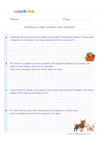 5th Grade Math worksheets with answers - multiplying 2-digit by 2-digit numbers word-problems