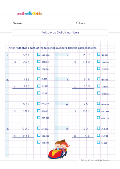 5th Grade Math worksheets with answers - How to multiply 3 digit numbers by 3 digit numbers