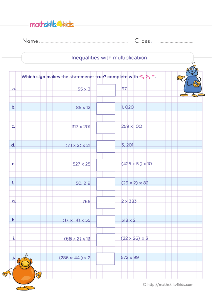 5th Grade Math worksheets with answers - How do you solve inequalities with multiplication