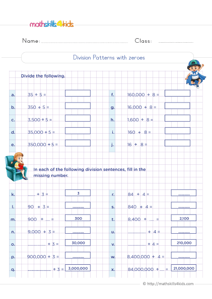 5th Grade Math worksheets with answers - Solving division patterns over increasing place values