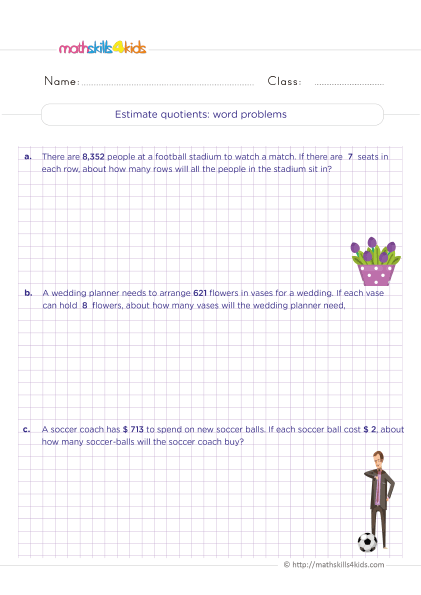 5th Grade Math worksheets with answers - Estimating quotients word problems - How to estimate quotient?