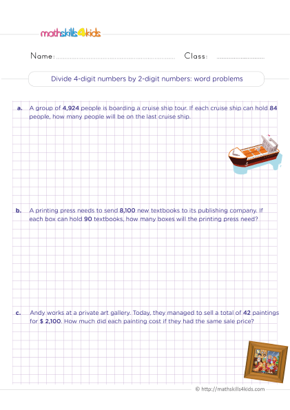5th Grade Math worksheets with answers - Dividing 4-digit by 2-digit numbers word problems
