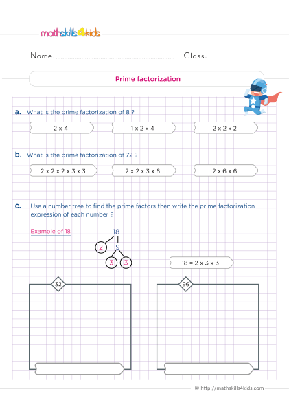 5th Grade Math worksheets with answers - How do you find the prime factorization?