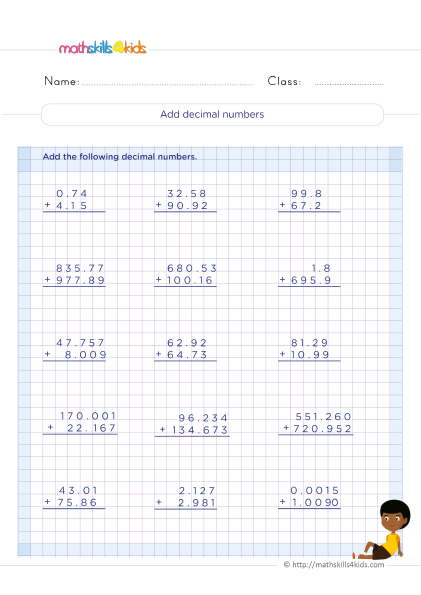 5th Grade Math worksheets with answers - Adding decimals practice - How to add decimal number