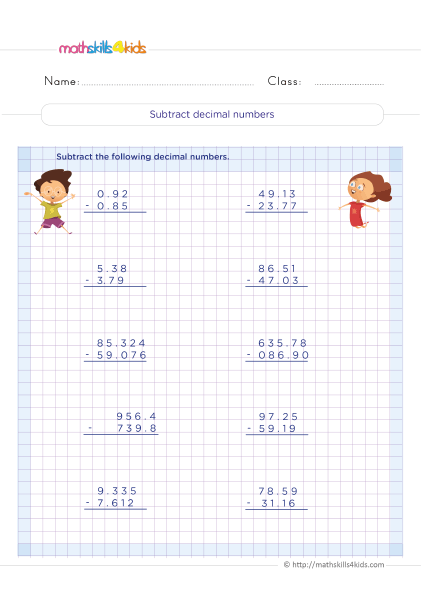 5th Grade Math worksheets with answers - Subtraction of decimals practice - How to subtract decimal number