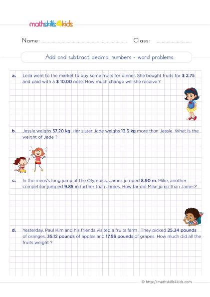 5th Grade Math worksheets with answers - Addition and subtraction of decimals word problems with answers