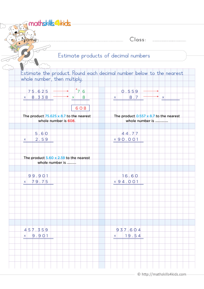 5th Grade Math worksheets with answers - Estimating decimal products - How to estimate decimals when multiplying