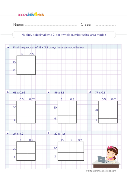5th Grade Math worksheets with answers - multiplying decimals by 2 digit whole numbers