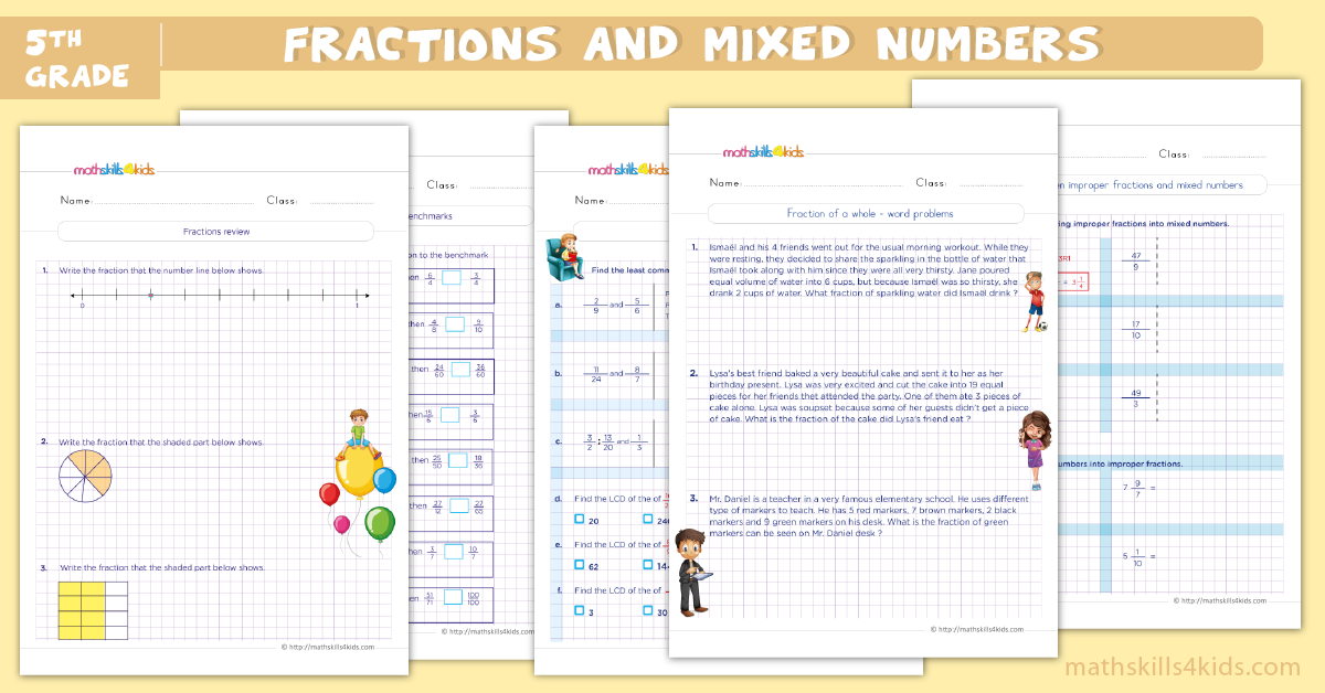 5th grade math worksheets - fractions and mixed numbers worksheets for grade 5