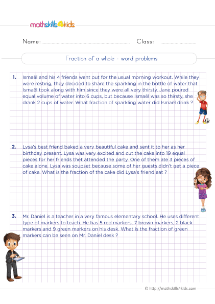 5th Grade Math worksheets with answers - How to find a fraction of a whole word problems practice