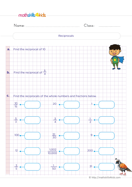5th Grade Math worksheets with answers - Understand what does a reciprocal of a fraction mean