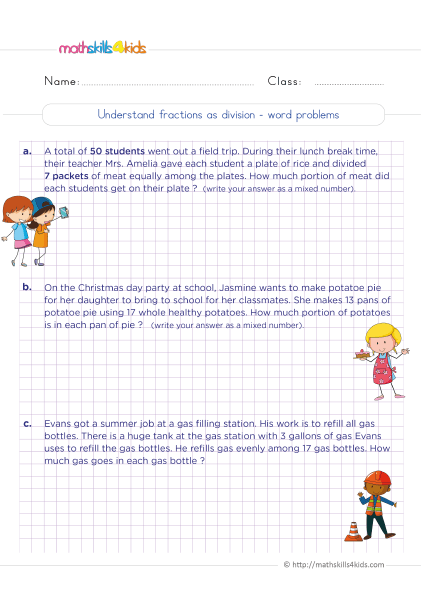 5th Grade Math worksheets with answers - understanding fractions as division word problems