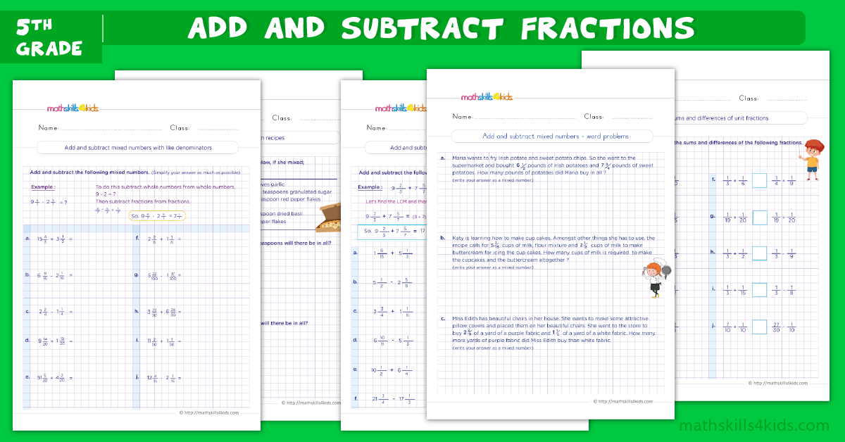 5th grade math worksheets - addition and subtraction of fractions worksheets for grade 5