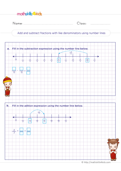 5th Grade Math worksheets with answers - adding and subtracting fractions using a number line