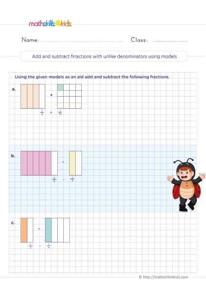 5th Grade Math worksheets with answers - adding and subtracting mixed numbers with unlike denominators